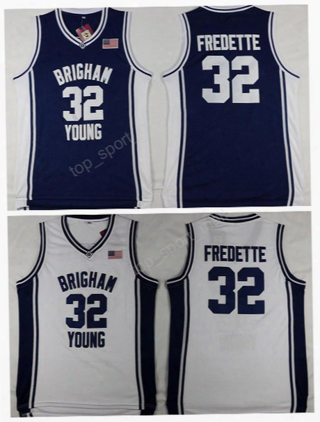 Hot Sale 32 Jimmer Fredette College Jerseys Brigham Young Cougars Basketball Jimmer Fredette Jersey Navy Blue Team Alternate White Sports