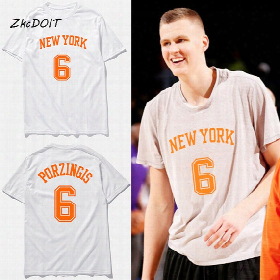 Hot Sale Men's T Shirt Kristaps Porzingis Basketball Jersey T Shirt 2017 Summer Fashion Short Sleeve Print T Shirt Top Tee,tx2455