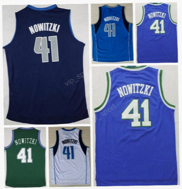 Hot Selling 41 Dirk Nowitzki Basketball Jerseys Men Throwback Dirk Nowitzki Jersey For Sport Fans Navy Blue White Green Stitched Quality