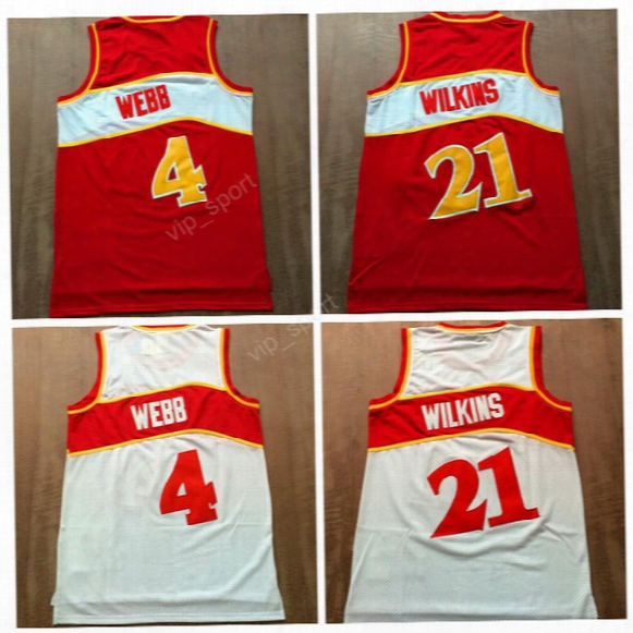 Hot Selling Men 4 Spud Webb Jersey Basketball Throwback 21 Dominique Wilkins Jerseys Vintage Sports Team Color Red White High Quality