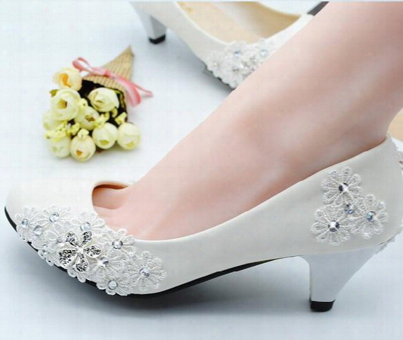 In Stock Hot Sale Ivory/red Low-heeled Lace Wedding Boots Lace Wedding Shoes Sexy Low Heel Lace Bridals Shoes