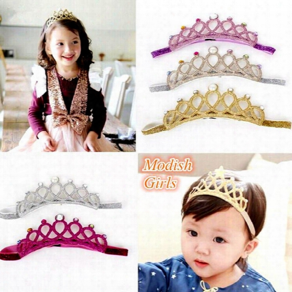 Ins Baby Girls Glitter Felt Headbands With Colors Crystals Novelty Tiara For Baby Princess Headband 5colors Choose Free Ship