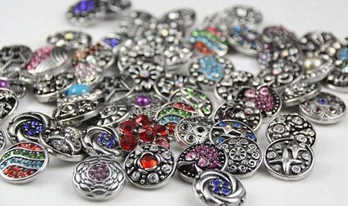 Jack88 Hot 20pcs/lot Many Styles Snaps 18mm Metal Rhinstone Snap Button Ginger Snap Jewelry Fit Leather Charm Bracelet N643