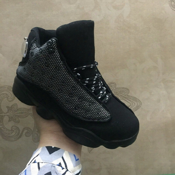 Kids Retro 13 Og Black Cat Basketball Shoes 2017 New Children Youth Black 13s Athletics Sneakers For Boys And Girls