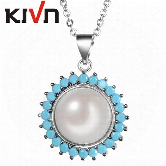 Kivn Fashion Jewelry Blue Cz Cubic Zirconia Womens Girls Bridal Wedding Simulated Pearl Pendant Necklaces Promotion Birthday Gifts