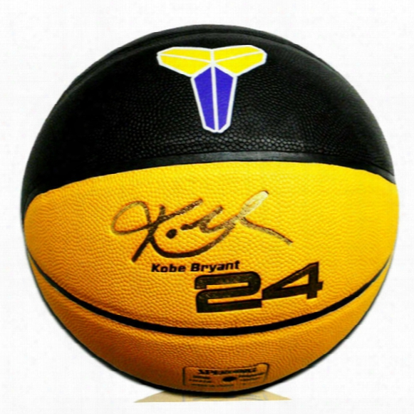 Lakers 24 Kobe Basketball Kobe Bryant Signature Yellow-black Indoor Outdoor Pu Particles Antiskid Wear Resistance Basketball Ball Size 7