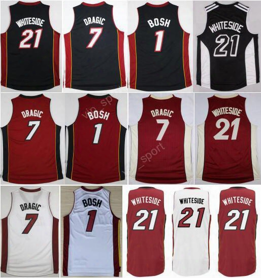Men 21 Hassan Whiteside Jersey Printed 1 Chris Bosh 7 Goran Dragic Basketball Jerseys Christmas For Sport Fans Color Red Black White Color