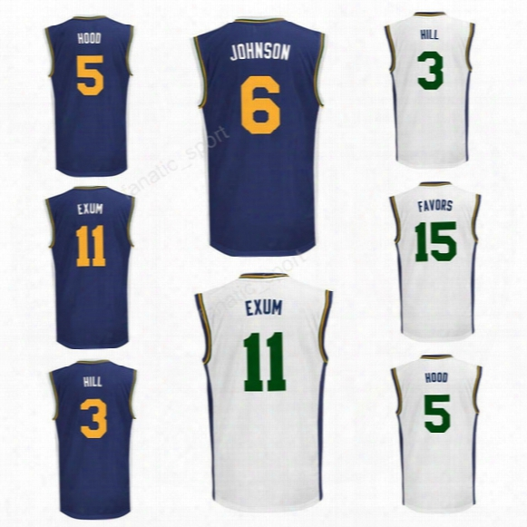 Men 3 George Hillb Asketball Jerseys Printed 5 Rodney Hood1 1 Dante Exum 15 Derrick Favors 6 Joe Johnson Jersey Sport Navy Blue White