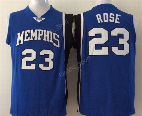 Men Basketball 23 Derrick Rose College Jerseys Cheap Memphis Tigers Jersey Sport Team Color Blue Embroidery And Sewing Good Quality
