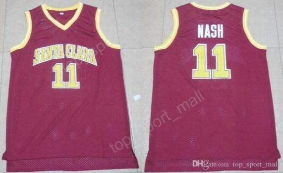 Men College 11 Steve Nash Basketball Jerseys Santa Clara Broncos Jersey Sale Throwback Red Black White Yellow Purple Embroidery
