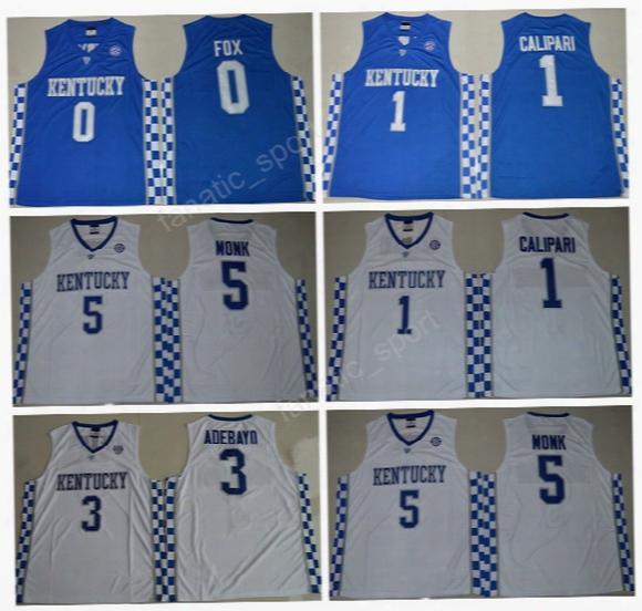 Men College Kentucky Wildcats Jerseys Basketball 1 John Calipari 0 De'aaron Fox Jersey 3 Edrice Adebayo 5 Malik Monk Team Blue White