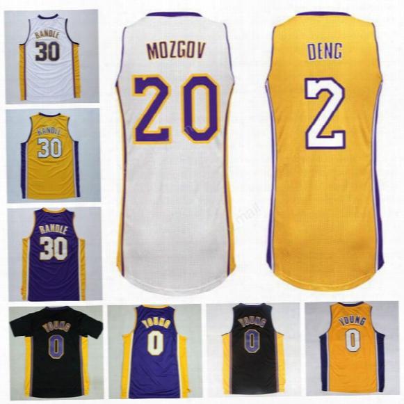 Men Printed 0 Nick Young Basketball Jerseys 30 Julius Randle 2 Luol Deng 20 Timofey Mozgov Jersey For Sport Fans Yellow Black White Purple