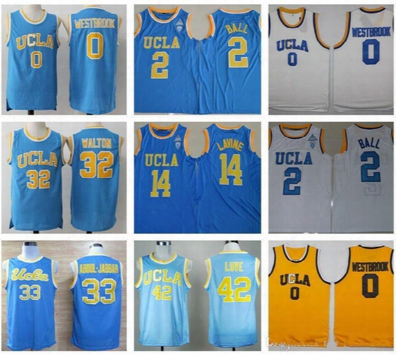 Men Ucla Bruins College Basketball Jerseys 0 Russell Westbrook 2 Lonzo Ball Jersey 14 Zach Lavine 32 Bill Walton 33 Jabbar Blue White Jersey