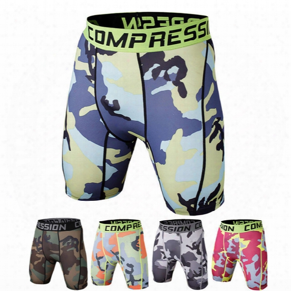Men Underwear Elastic Yoga Shorts Sports Running Tights Camouflage Shorts For Men Basketball Running Gym Jogging Compression Tights A111114