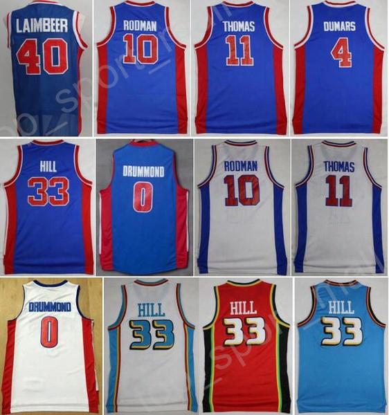 Men Vinatge 10 Dennis Rodman Basketball Jersey 11 Isiah Thomas 40 Bill Laimbeer 4 Joe Dumars 33 Grant Hill 0 Andre Drummond 1 Reggie Jackson
