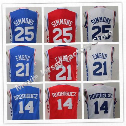 Men's #25 Ben Simmons #21 Joel Embiid Jersey #14 Sergio Rodriguez Jersey Blue White Red 100% Stitched Basketball Jerseys S-xxl