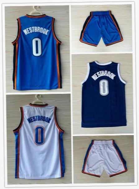 Men's Basketball Jersey #0 Westbrook Sleeveless Sports Jerseys Embroided Blue Casual Sportswear Nnba Jerseys White Outdoor Basketball Shorts