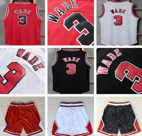 Men's Black Basketball Jersey #3 Wade Sleeveless Sports Jersey Embroided Red Basketball Wear Sports T Shirts Adult's Mesh Basketball Shorts