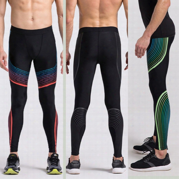 Men's Sports Pants Basketball Tights Trousers Foot Leggings Leggings Compression High Stretch Striped Trousers Trousers Fitness Sports Botto