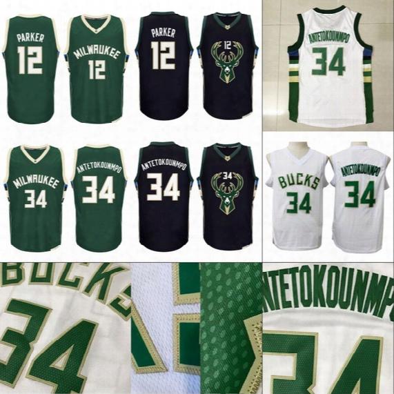 Mens 12 Jabari Parker 34 Giannis Antetokounmpo Basketball Jerseys 100% Stitched Embroidery Logos High Quality Free Shipping White Black