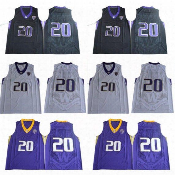 Mens 20 Markelle Fultz Washington Huskies College Basketball Jerseys Markelle Fultz Black White Purple Shirts University Jerseys Cheap