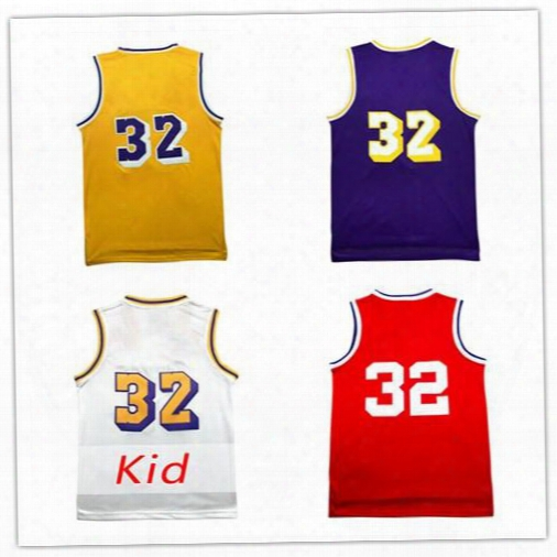 Mens Universiy Magic Johnson #32 Jerseys Double Stitched Johnson Youth Jerseys Cheap Embroidery Logos All Star Jerseys Free Shipping