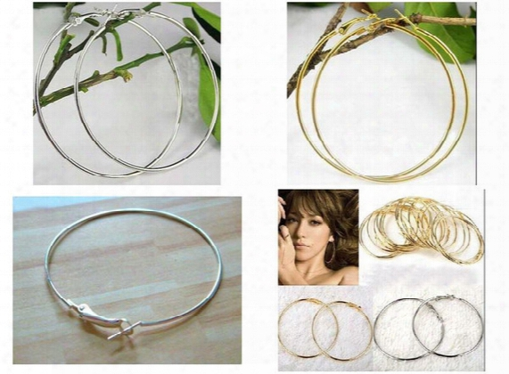 Mix Colors 50mm 60mm 70mm 80mm 80pairs Big Circle Earrings Gold/silver Basketball Wife Earrings