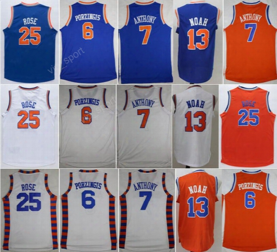 New 6 Kristaps Porzingis Jersey Men Sport 13 Joakim Noah 25 Derrick Rose Basketball Jerseys 7 Carmelo Anthony College Syracuse Orange Blue