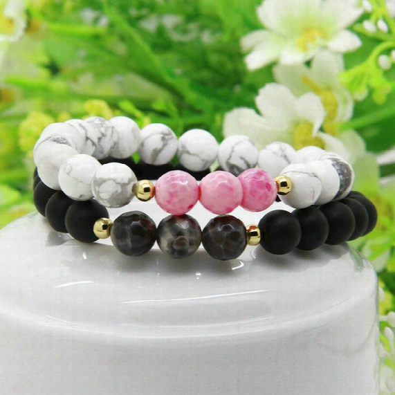 New Designs Couples Jewelry Wholesale 5set/lot 8mm Matte Agate And White Howlit Pink Stone Distance Lovers Bracelets