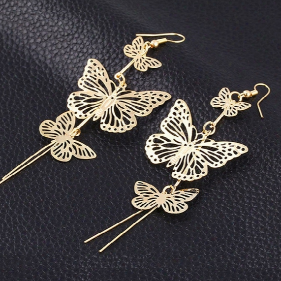 New Exaggeration! 100mm Multi-storey Long Hollow Tassels Butterfly Earrings Golden Silvery Girl / Madam Earrings 20 Pairs