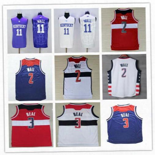 New Fashion 2 John Wall Jersey Throwback Men 3 Bradley Beal Basketball Jerseys Cheap Stitched Navy Blue Red White Free Drop Shipping