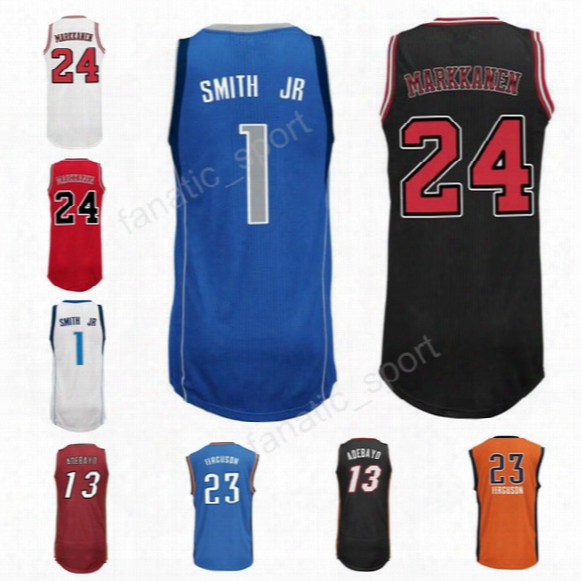 New Pribted 1 Dennis Smith Jr Jersey Men 13 Bam Adebayo 23 Terrance Ferguson Basketball Jerseys 24 Lauri Markkanen Blue Black Red White