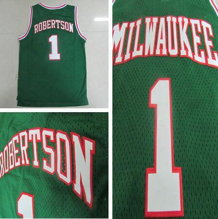 New Retro 1 Oscar Robertson Jersey Rev 30 New Material Throwback Shirt Uniform Green White Breathable Top Quality