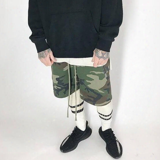 New Streetwear Korean Short Army Wear Military Camouflage Basketball Jogger Slim Fit Casual Fog Justin Bieber Sweat Mens Shorts