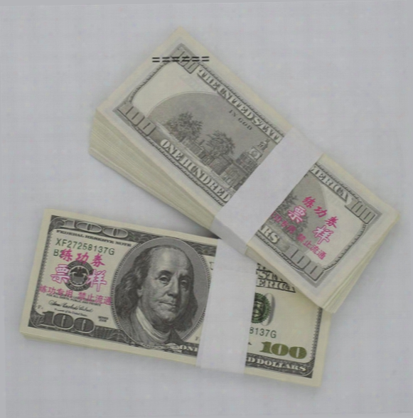 New Style 100pcs Lot Usd 100 Dollars 1:1 China Bank Staff Training Banknotes Paper Money Gift