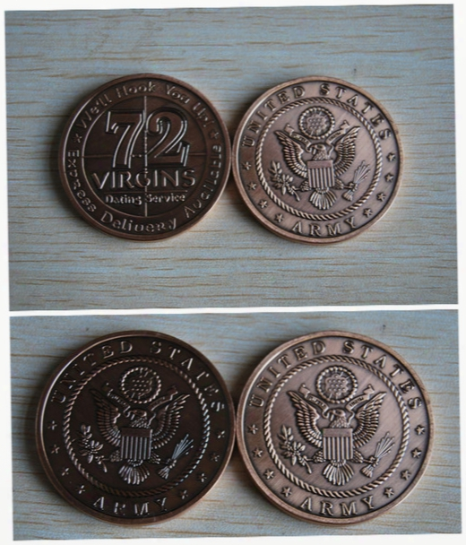 New Us Army 72 Virgins Bronze Antique Challenge Coin, 2pcs/lot Free Shipping