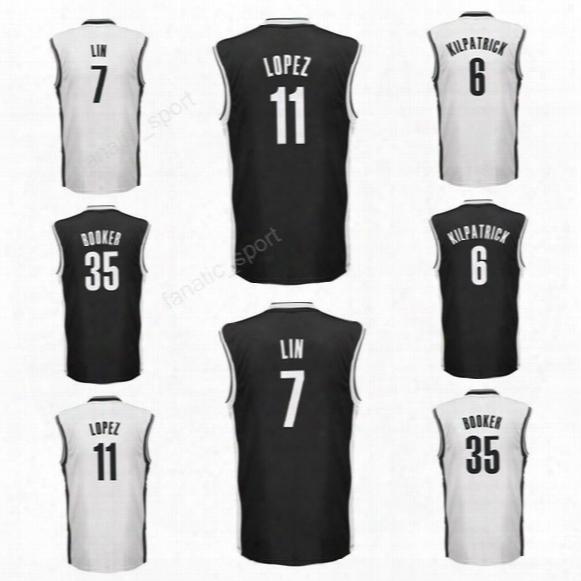 Printed 11 Brook Lopez Jersey Men Sport 6 Sean Kilpatrick 7 Jeremy Lin Basketball Jerseys 35 Trevor Booker Black White Color High Quality
