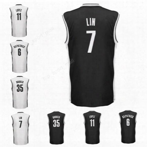 Printed 7 Jeremy Lin Jersey Men Basketball 11 Brook Lopez 6 Sean Kilpatrick Jersey 35 Trevor Booker Team Color Black White High Quality