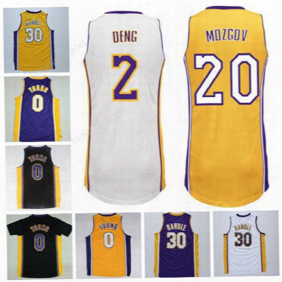 Printed Men 0 Nick Young Basketball Jerseys 30 Julius Randle 20 Timofey Mozgov Jersey 2 Luol Deng Team Color Yellow Purple White Black