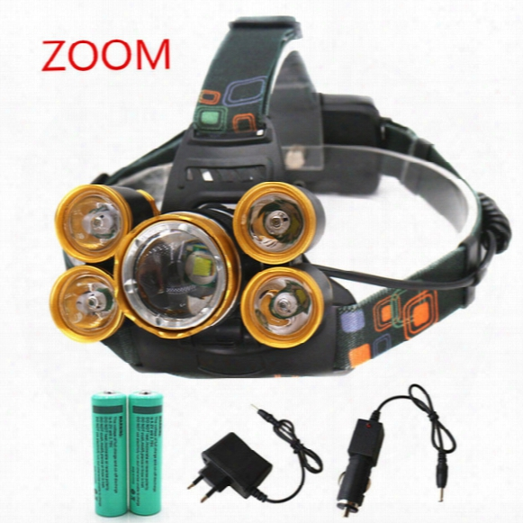 Rechargeable 15000lm 5 Led Bicycle Headlight Zoom Headlamp Hunting Lamp Fishing Light +18650 Battery +car Ac/ Charger+usb