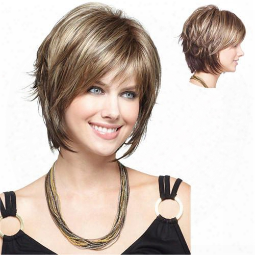 Short Synthetic Hair Wigs Cheap Side Bang Wig For Black Women Heat Resistant Blonde With Free Hair Net
