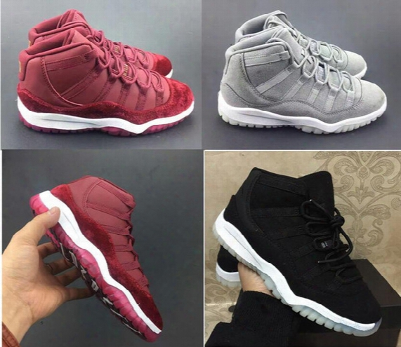 Sneakers Kids Shoes Girls Boys Retro 11 Grey Suede 11s Velvet Heiress Maroon Xi Wool Black Basketball Shoes Gs Sports Trainers For Sale