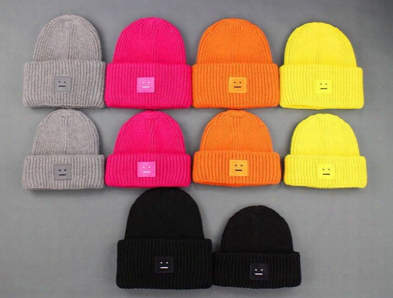 Solid Color Knit Hat Acne Autumn Winter Square Acn Smile Face Wool Knit Beanie Skull Caps Winter Knitted Warm Hats Basketball Caps Hip-hop
