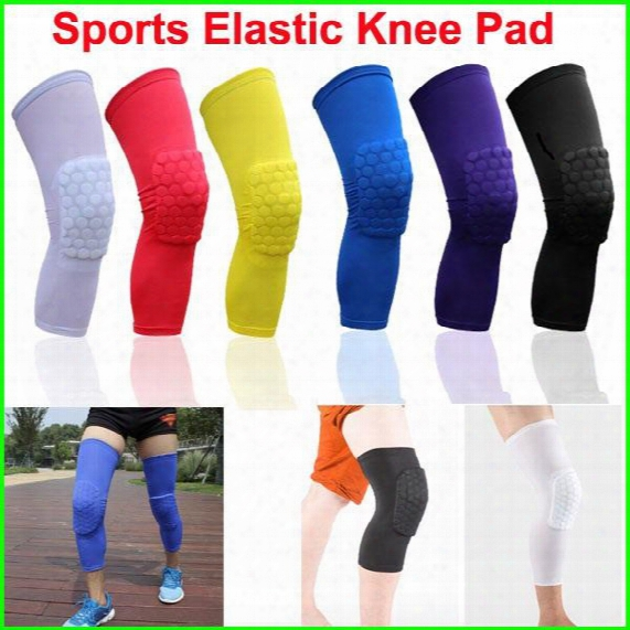 Sports Elastic Leg Knee Pad Uspport Brace Basketball Protector Gear Breathable Honeycomb Kneepad 6 Colors Cycling Long Knee Protector Soft