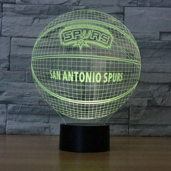 Spurs Basketball 3d Table Lamp Optical Illusion Bulbing Night Light 7 Colors Changing San Antinio Spurs