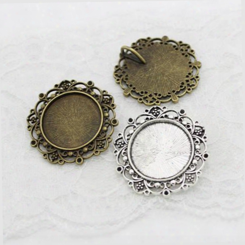 Sweet Bell Min Method 10pcs New Vintage Bronze Round Cameo Filigree Cabochon Settings 39mm(fit 25mm Dia) Metal Photo Jewelry Making A4116