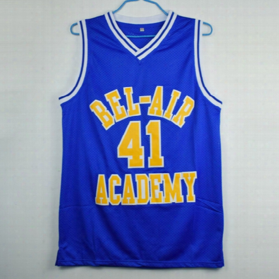 The Fresh Prince Of Bel-air Will Smith Bel-air Academy #41 Blue Basketball Jersey Stitched Sewn-blue