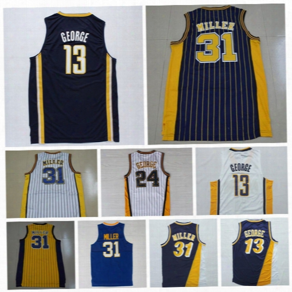 Throwback 31 Reggie Miller Jersey Men Fresno State Bulldogs College 13 Paul George Basketball Jerseys Sale Navy Blue White Yellow Black Red