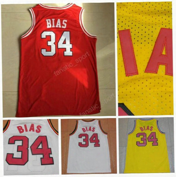Throwback 34 Len Bias Jersey Men 1985 Maryland Terps University Len Bias Basketball Jerseys Sports Red Yellow White Color Team Stitched