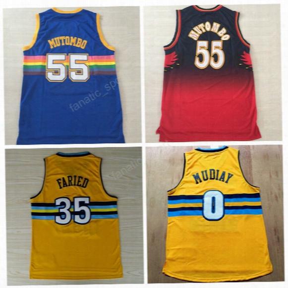 Throwback 55 Dikembe Mutombo Jerseys Men Basketball 35 Kenneth Faried 0 Emmanuel Mudiay Vintage Jersey Retro Yellow Blue Red Black Color